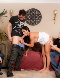 Jewels Jade takes on the trio of young studs Bruce Venture, Dane Cross and Tim Cannon! She's got one stiff dick ramming her pussy, another in her