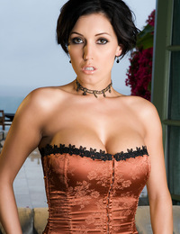 Dylan Ryder is stunning in this old-fashioned parlour room striptease as she slowly pulls off her classic, sexy corset and garters outfit piece by pie