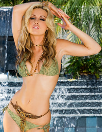 Kayden Kross has got goose bumps all along her gorgeous naked breasts and shapely hips from the fine water mist of the cascading waterfall behind her!