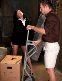 Andy San Dimas meets Johnny Castle in the alley to sign for a package. And Johnny's got a one big package for the hot brunette that needs to be h